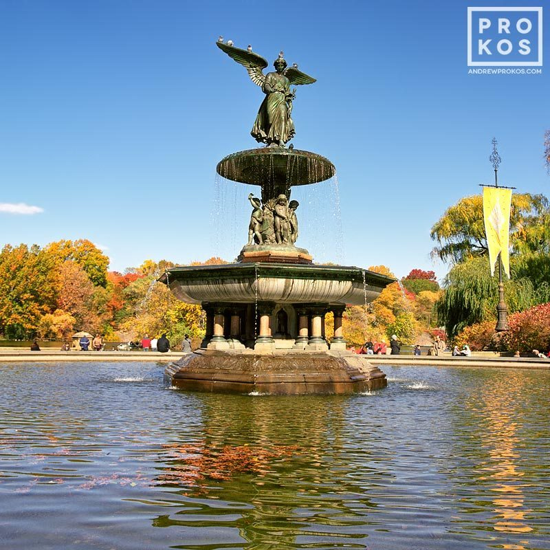 The famous Angel Fountain at Bethesda Terrace in Central Park in Autumn, New York City