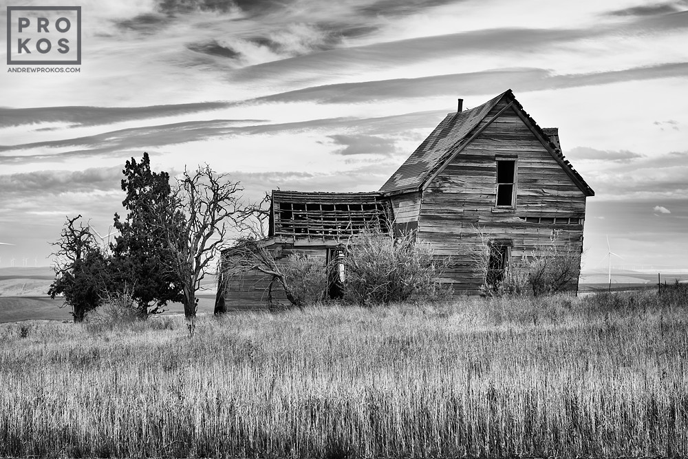 Black and white photo of anabandoned farmhouse found in Biglow Canyon, Oregon.