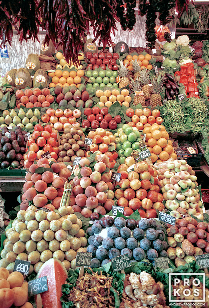 A fruit stand in Barcelona's famous Boqueria Market