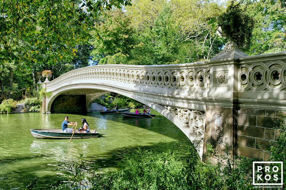 A view of Bow Bridge in Summer, Central Park, New York City.
