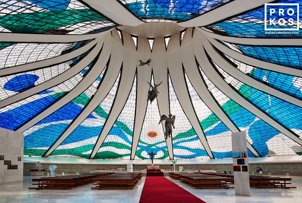 Interior of the Cathedral of Brasilia. Vista interior da Catedral de Brasilia.