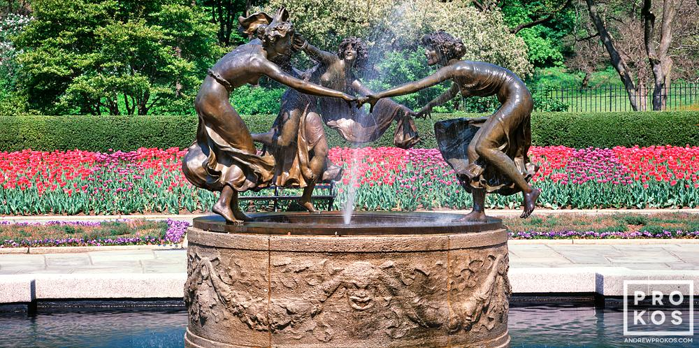 A panoramic view of the Conservatory Garden and Dancing Maidens fountain in Spring