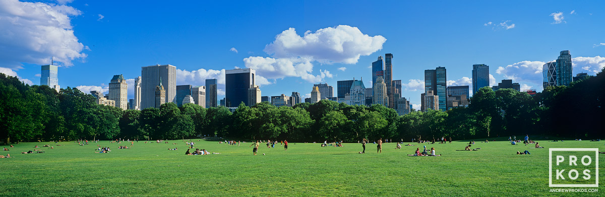 A panoramic view of Midtown Manhattan from Sheep's Meadow in Central Park, New York City