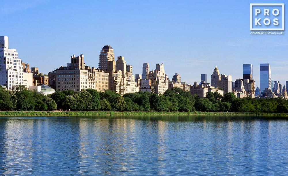The skyline of Fifth Avenue and the Upper East Side of Manhattan as seen from the reservoir in Central Park, New York City