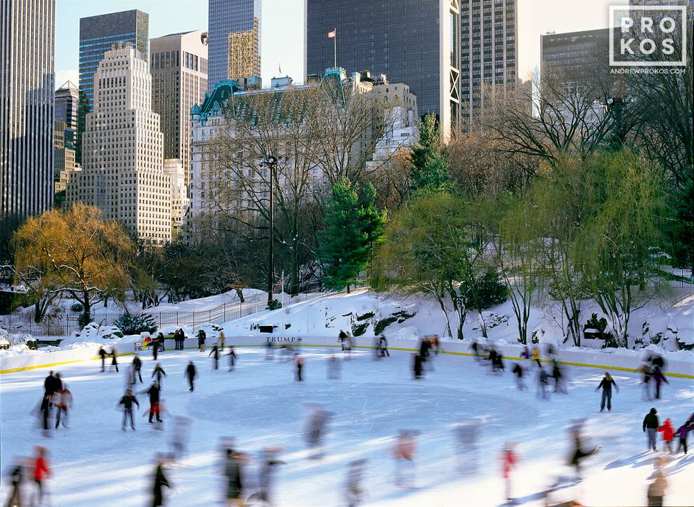 A view of ice skaters at Wollman Rink in Central Park in Winter, New York City