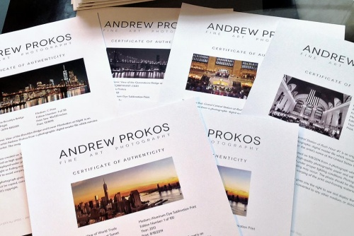 Fine Art Print Certificate of Authenticity - Andrew Prokos Photography