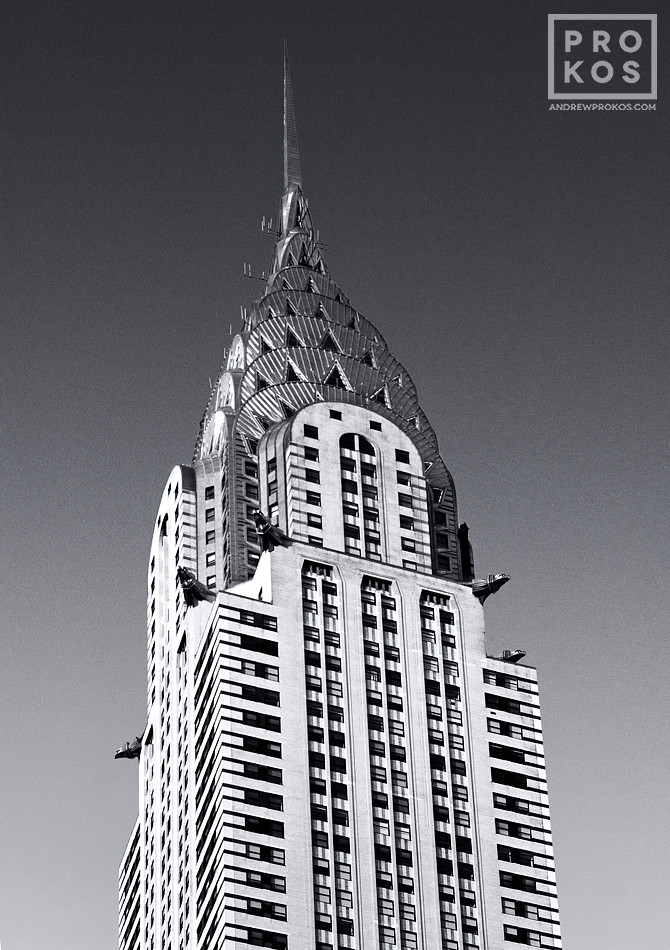A black and white view of the Chrysler Building spire, New York City