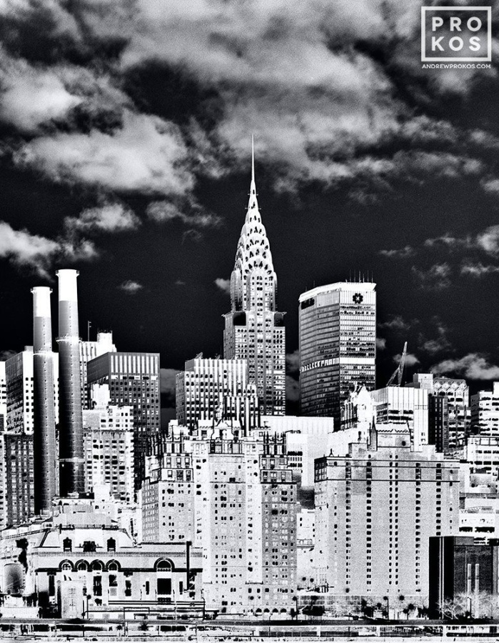 Alarge-format black and white view of the Chrysler Buildingfrom Andrew's fine art series Inverted.