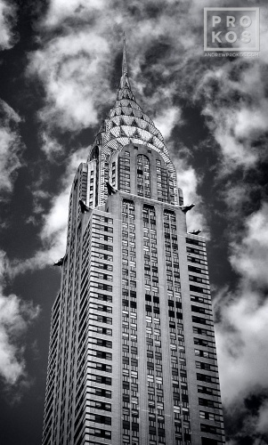 A panoramic View of the Chrysler Building in New York City in black and white. VT DAY PX