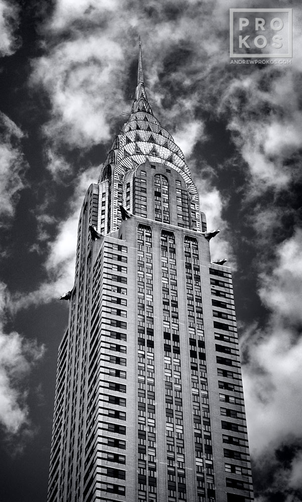 A panoramic View of the Chrysler Building in New York City in black and white.
