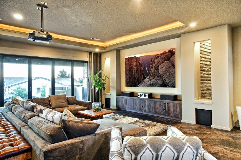 A gallery mounted print of Black Canyon Sunset by photographer Andrew Prokos in a luxury home interior