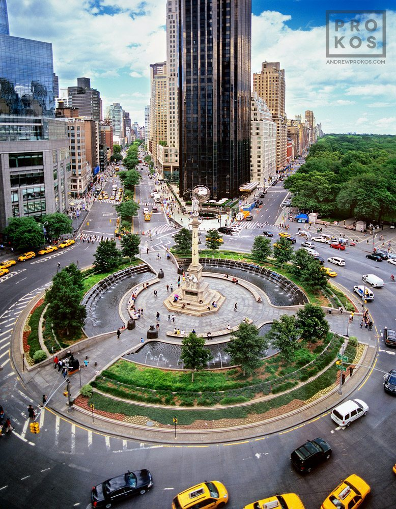 An elevated view of New York's Columbus Circle from above