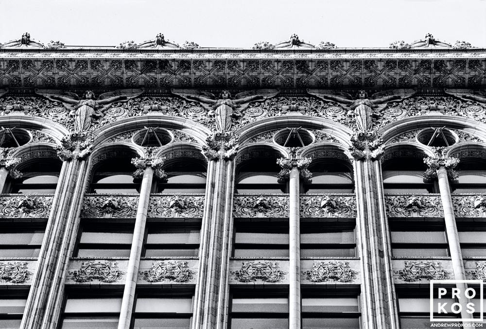 Facade of the Bayard-Condict Building in New York City in black and white