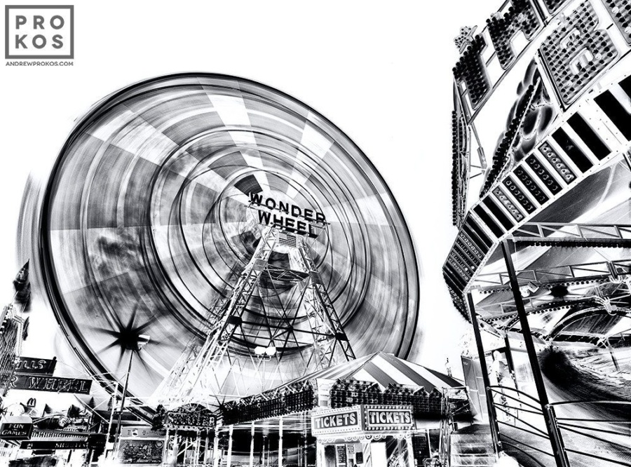 Alarge-format black and white view of Coney Islandfrom Andrew's fine art series Inverted.