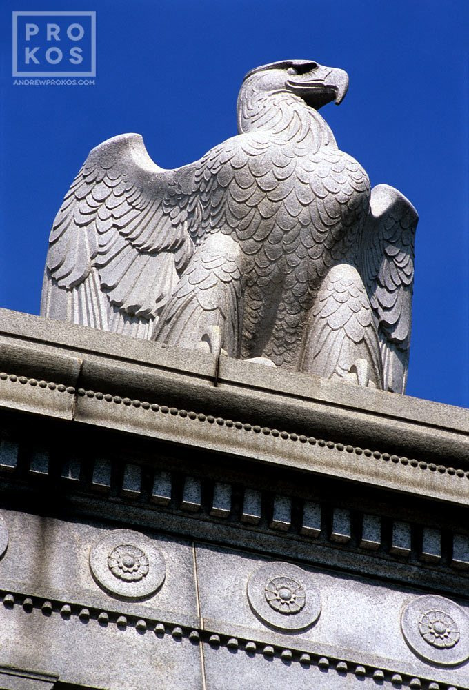 Detail of the American Eagle statue from Arlington Memorial Bridge, Washinton DC