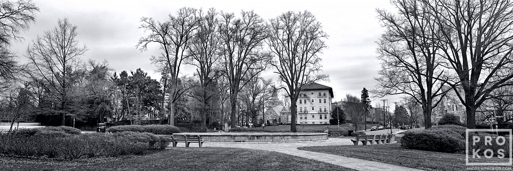 A black and white panoramic view of Chevy Chase Circle in Washington DC