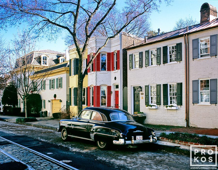 A view of O Street in Georgetown, Washington DC