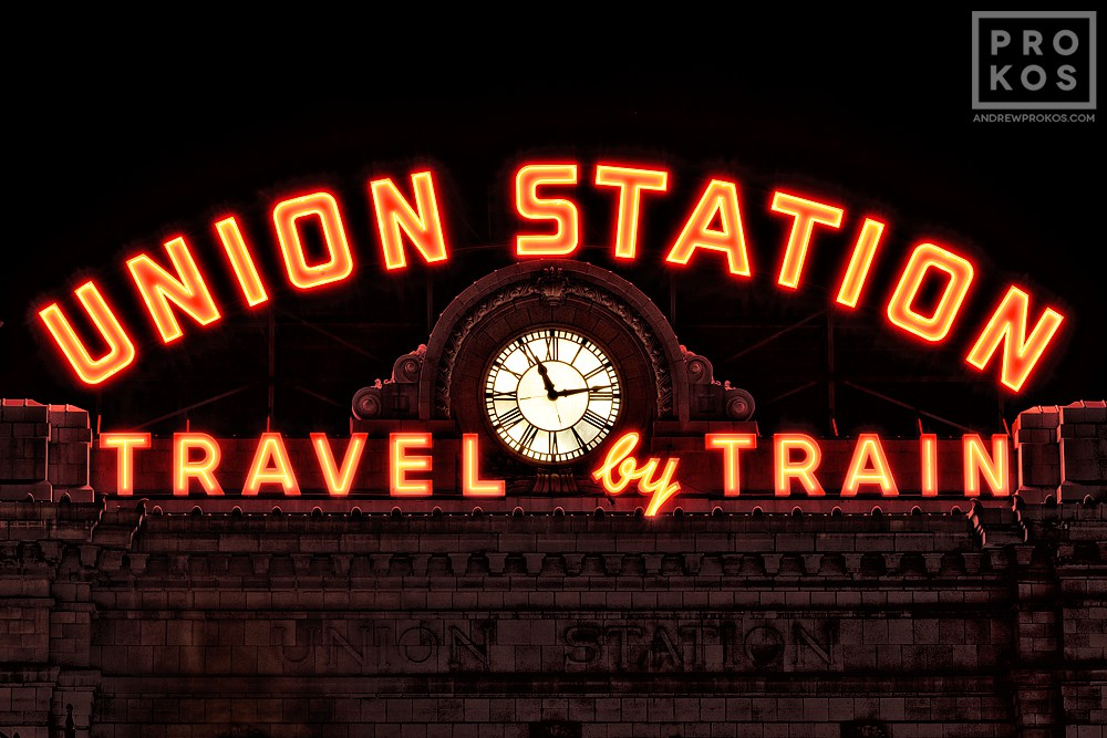An architectural detail of the neon sign from Denver's Union Station train station