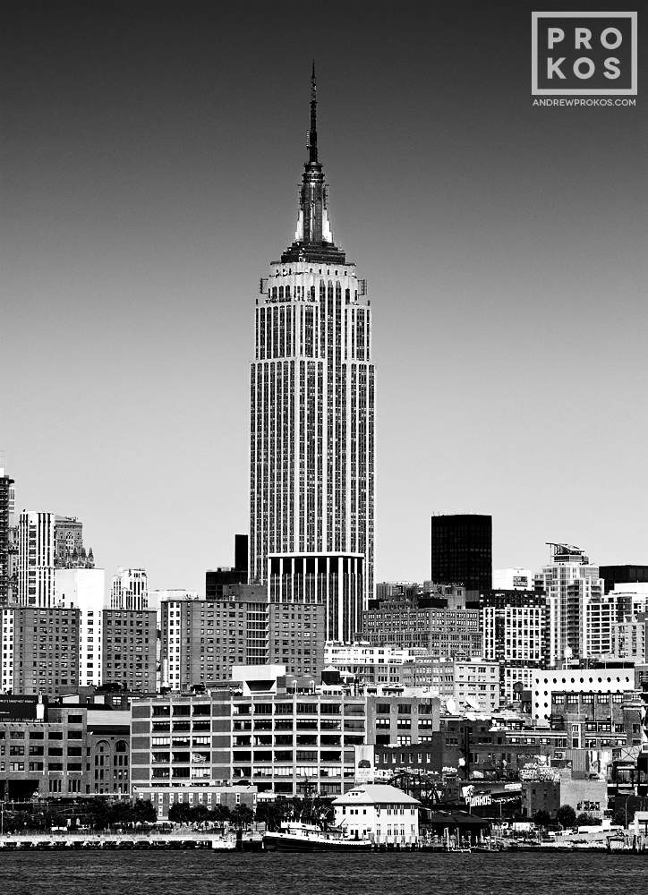 A black and white view of the Empire State Building from Hoboken, NJ
