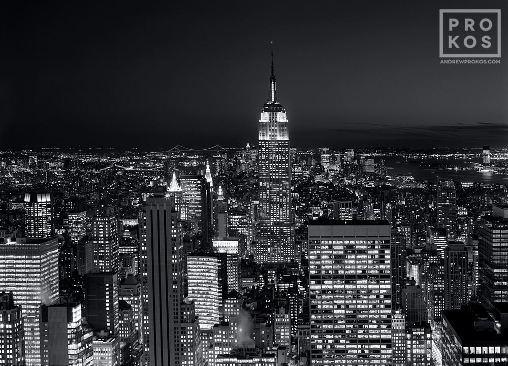 A view of the Empire State Building and Midtown Manhattan at night as seen from Rockefeller Center