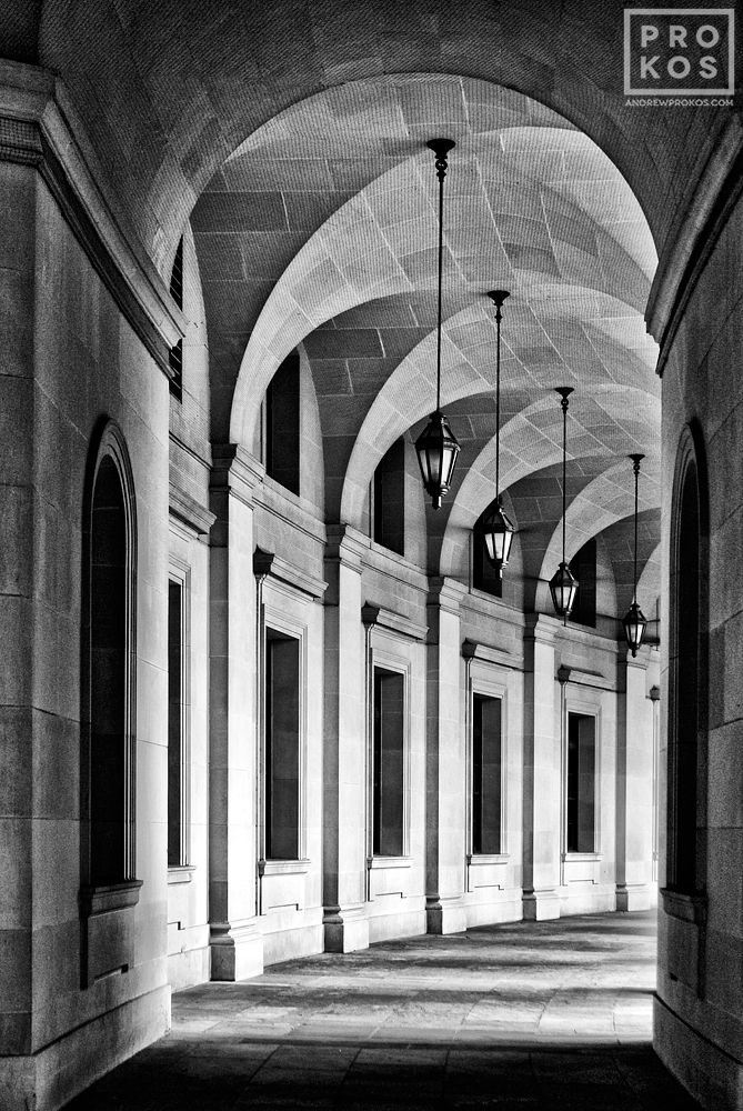 An archway in the Federal Triangle, Washington DC in black and white