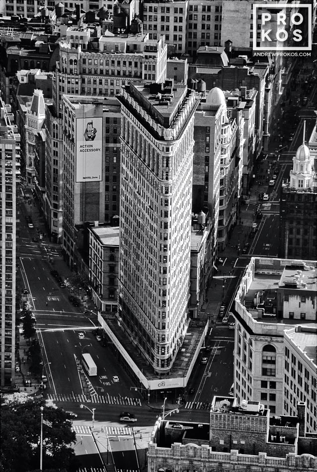 An aerial view of the Flatiron Building in black and white, New York City
