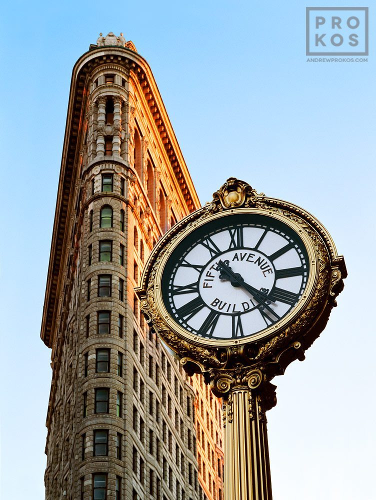 A photo of the New York's Flatiron Building and the Fifth Avenue Clock