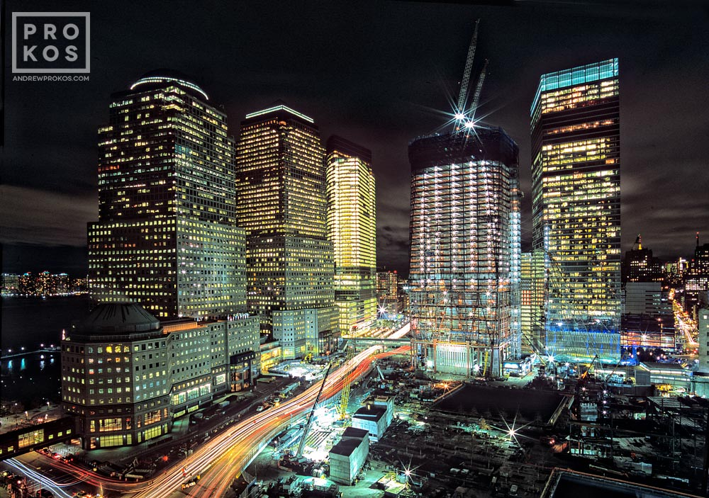 A view of Ground Zero and the One World Trade Center (Freedom Tower) construction site at night, New York City.