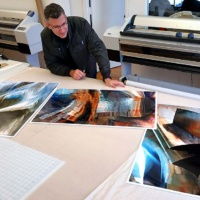 "Andrew Prokos with Limited Edition Fine Art Prints from his series ""Gehry's Children"""
