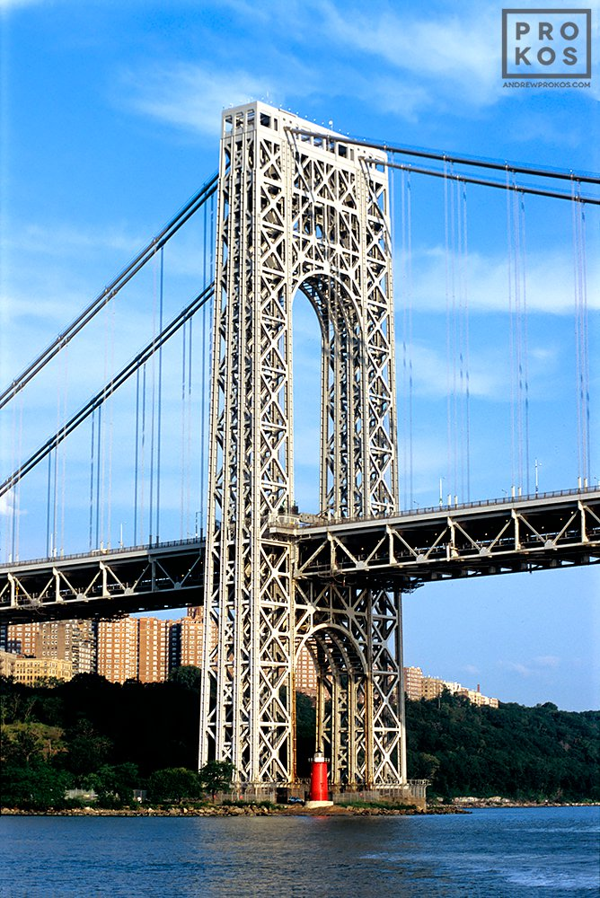 A view of the George Washington Bridge from the Hudson River during the day, New York City