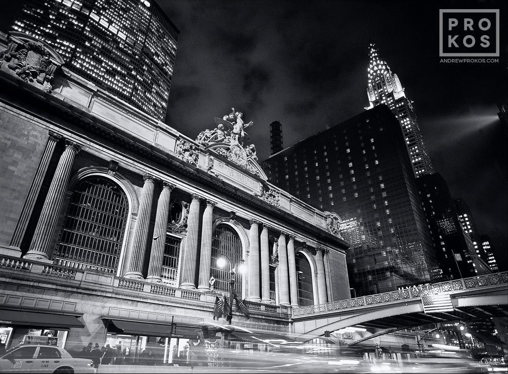 A black and white view of Grand Central Station at night, New York City