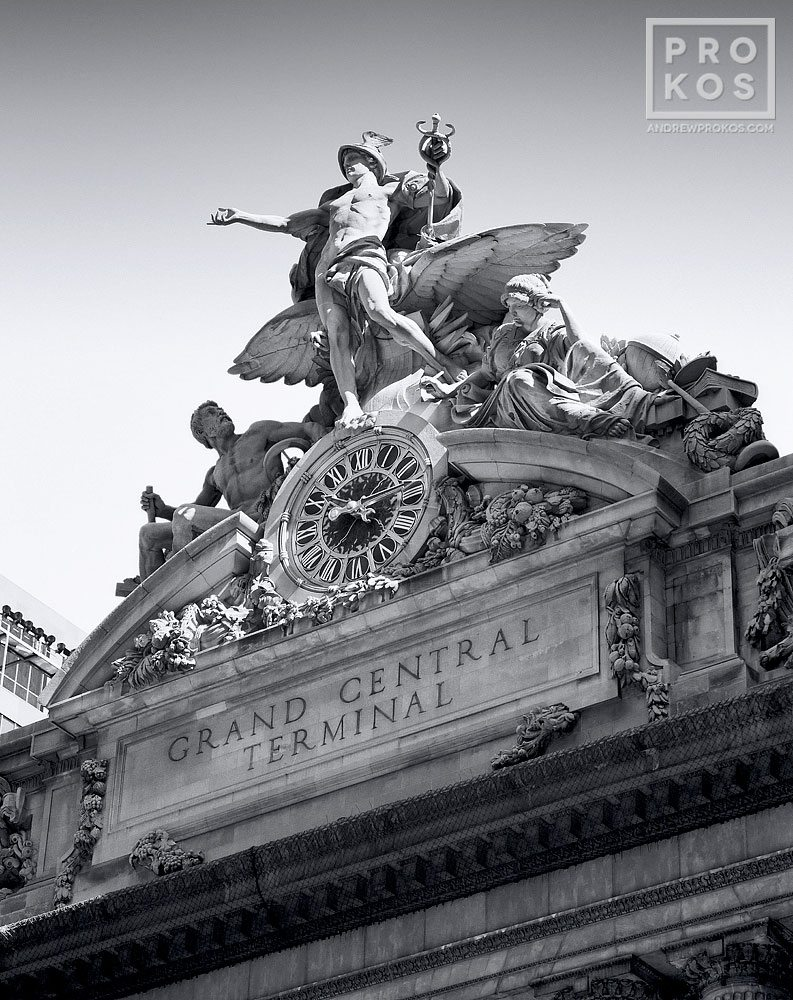 Grand Central Station's facade and Mercury Clock in black and white, New York City