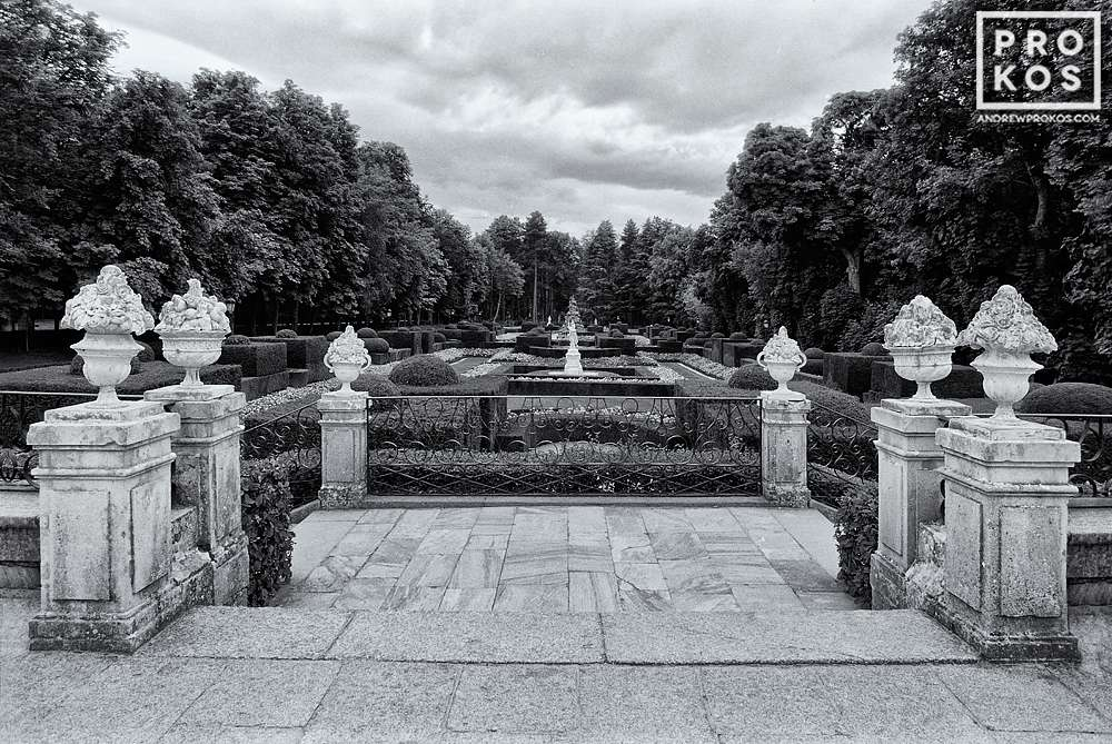 A balcony overlooking the gardens of the Royal Palace at La Granja de San Ildefonso, Spain