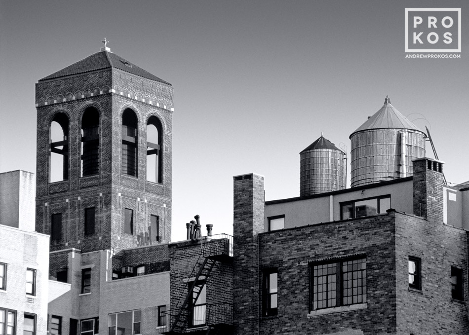 Rooftops of Greenwich Village buildings in black and white, New York City