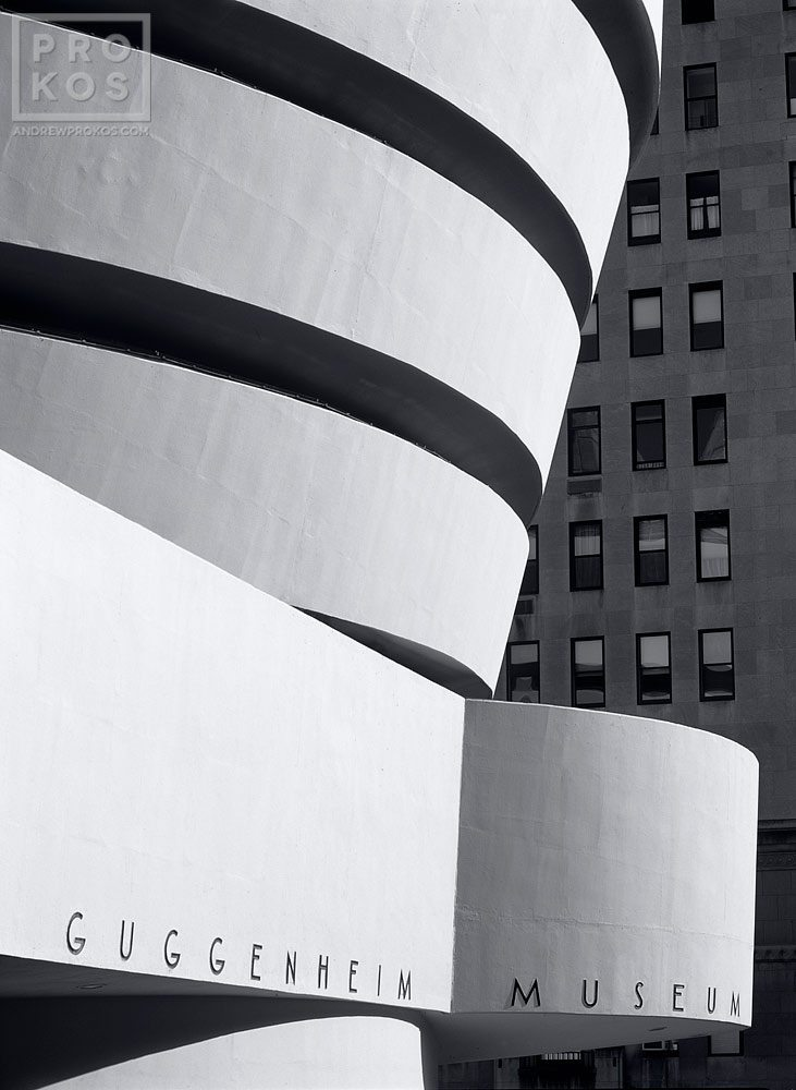 A view of the Guggenheim Museum exterior in black and white, New York City