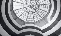Fine art photo of the Guggenheim Museum interior in black and white, New York City