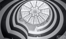 Interior view of the Guggenheim Museum in New York City in black and white