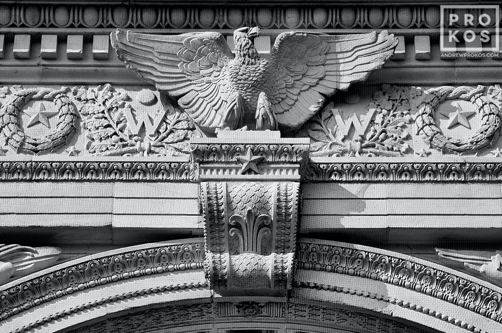 A close-up black and white architectural detail of an eagle from the arch Washington Square Park, in New York's Greenwich Village