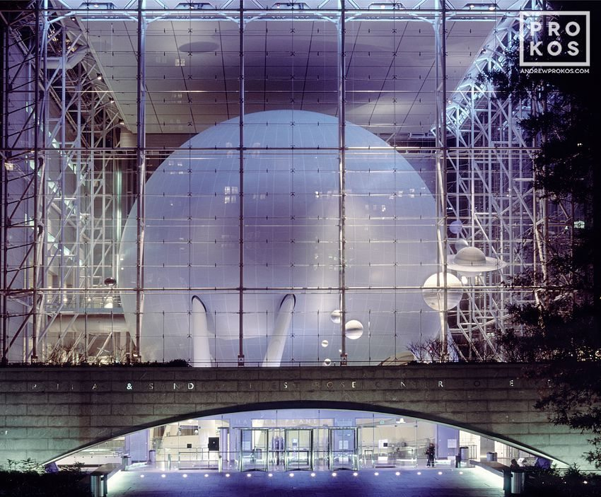 A view of the Hayden Planetarium at night, New York City