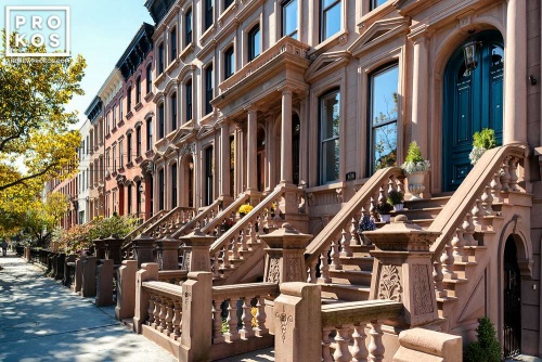 A row of brownstones along Hudson Street in Hoboken, New Jersey