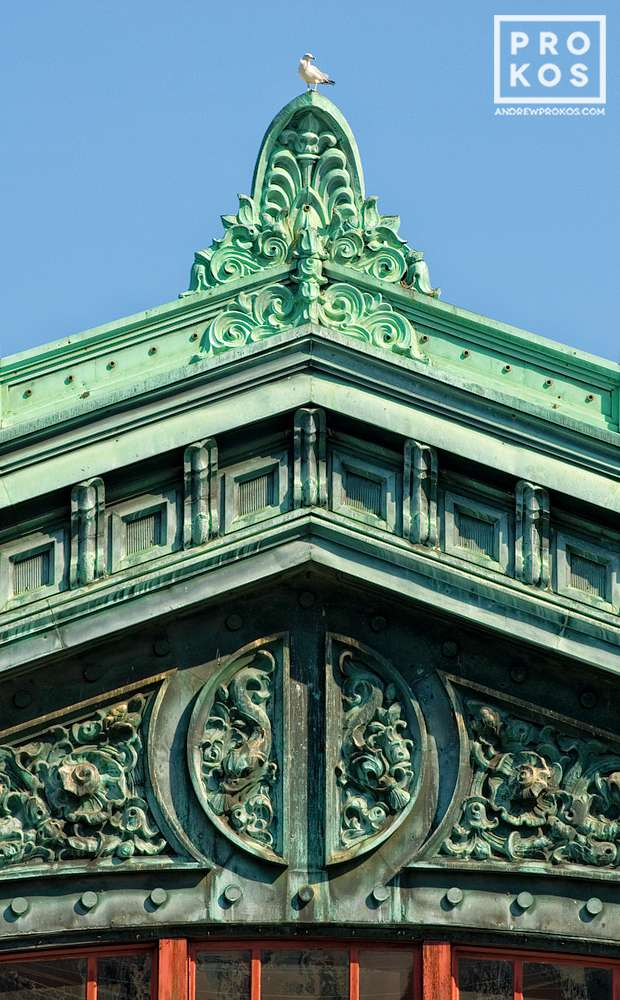 An architectural detail from the ornate facade of Hoboken Station, New Jersey