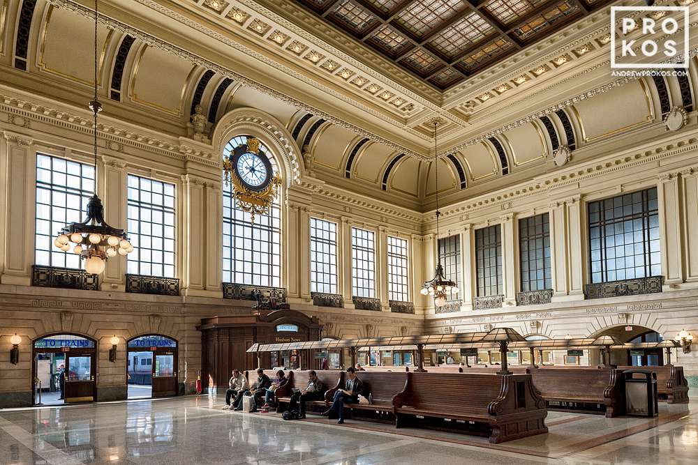 An interior view of Hoboken Terminal, New Jersey