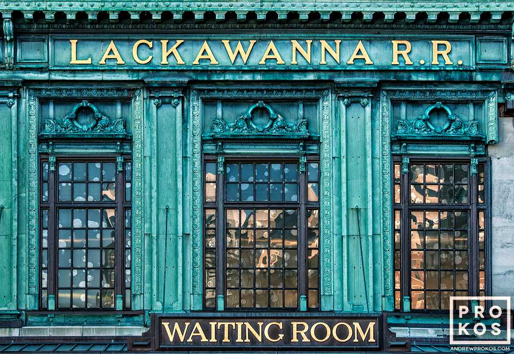 A detailed view of the facade of Hoboken Terminal's waiting room, New Jersey