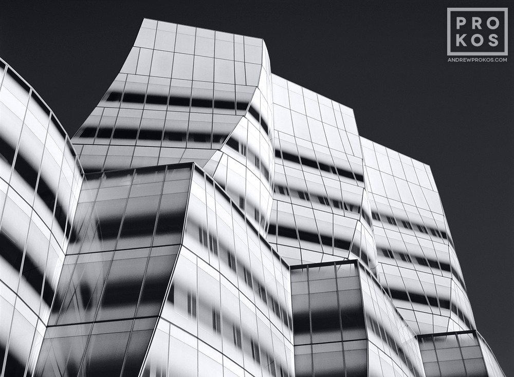 A black and white fine art photo of the exterior of the IAC Building in New York City in black and white