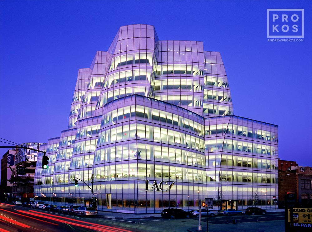 A dusk view of the IAC Building by Gehry and Partners, New York City