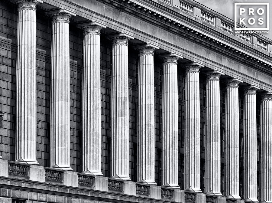 A detail of the columns from the facade of the Internal Revenue Service building, Washington DC