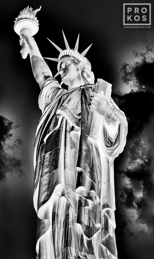 Alarge-format black and white view of the Statue of Liberty, from Andrew's fine art series Inverted.