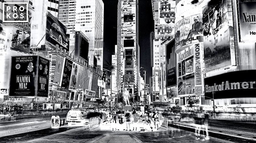 Alarge-format black and white view of Times Square at night, from Andrew's fine art series Inverted.