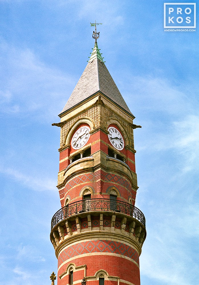 The clock tower of Jefferson Market Library in Greenwich Village, New York City