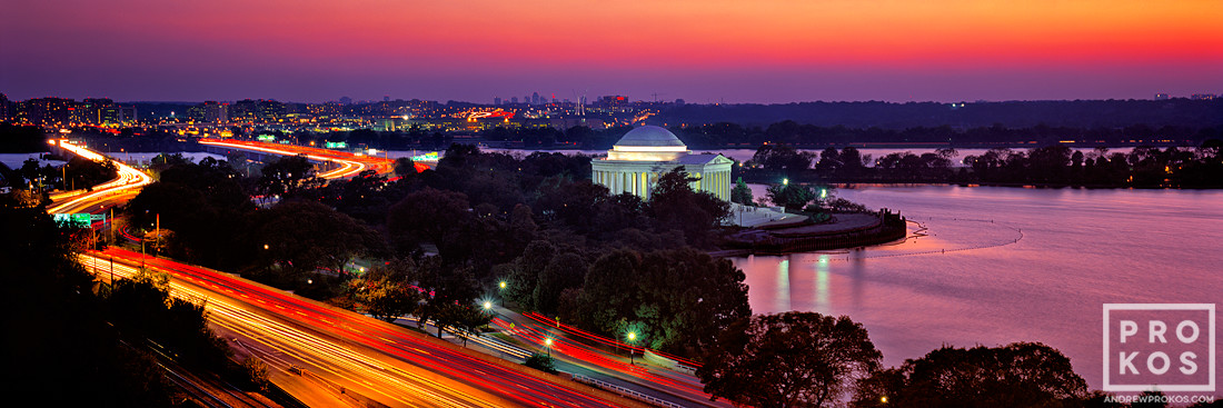 A panoramic view of the Jefferson Memorial and Tidal Basin at dusk, Washington DC